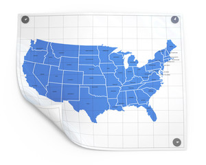 Paper sheet with usa map isolated illustration