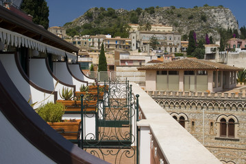 taormina sicily italy view classic architecture from hotel