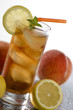 cold fresh ice tea with lemon close up shoot