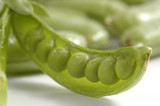 Fresh green sugar snap peas in the pod. poster