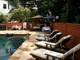 Set Up For Backyard Party in Backyard with Swimming Pool