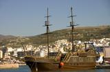 typical greek schooner in Chania harbor, Crete poster