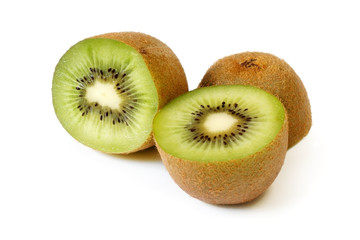 Kiwi fruit, halved, on white.