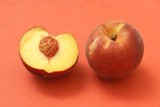 Peach and half peach with stone. Fruit. Nutrition poster