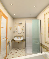 the modern bathroom interior(3D image)