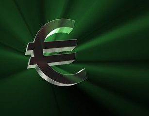 Euro symbol in green lights