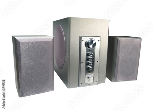2.1 home theatre sound system. Isolated on white.