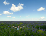 happy girl in the blooming field poster