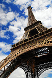 Eiffel tower on blue sky background. Paris, France. poster