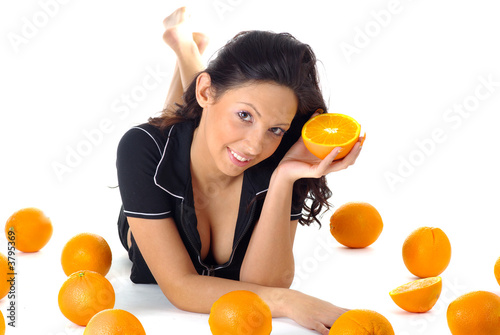 fitness girl with orange