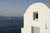 santorini house villa view with cruise ship incredible greece poster