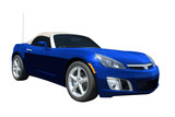 Blue convertible sports car roadster  isolated on a white. poster