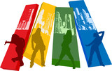 Rainbow Color Hip Hop Silhouette poster