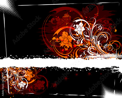 Abstract grunge floral frame with bug, vector illustration