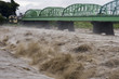Raging waters of the Fuji River during a Typhoon