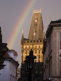 Rainbow over the Powder Tower in Prague poster