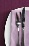 Place setting ~ white plate with knife and fork poster