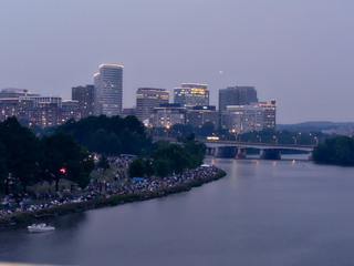 cityscape of Roslyn, Va. skyline at dusk during a celebration