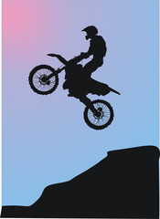 illustration with silhouette of man on motorcycle