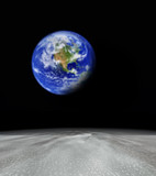 earth viewed from abstract planet  focus is set in foreground poster