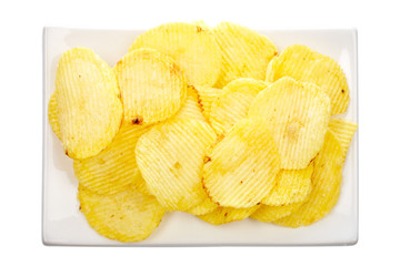 Potato chips on a plate isolated on white background