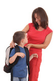 five years old boy and his mother with backpack isolated poster