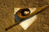 Vintage baseball on base poster