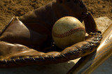 Vintage baseball and bat on base poster