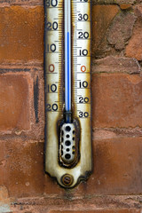 Old white enamel thermometer