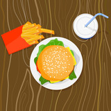 Burger, fries and drink poster