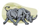 Rhinoceros charging poster