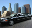 Black limousine in Los Angeles downtown