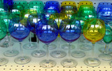 Green, blue and yellow crystal glasses for sale poster