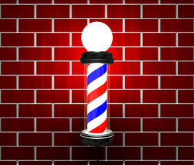 Barber pole on brick wall