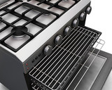 3D render of a close up of a modern oven poster