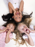 Three young girls growing up. Childhood, learning,