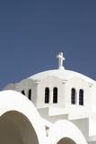 santorini famous greek island church thira town oia greece poster