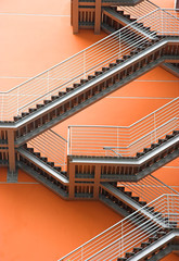 Abstract view of a European modern building with stairs