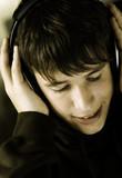 teen listening favorite music poster