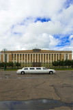 Luxury car in front of Novgorod regional administration  poster