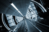 Futuristic architecture. Tunnel with moving sidewalk poster