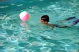 Boy With Orange Swim Goggles and Swim Fins poster