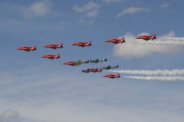 Red Arrows, Hurricane and spitfires