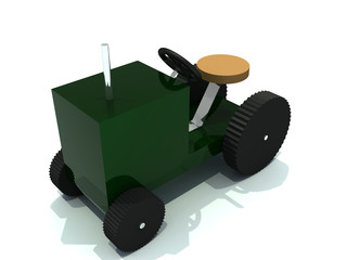 toy tractor from green plastic and with wheel from rubber