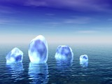 Ice in ocean. 3D landscape.  poster