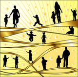 Vector silhouettes parents and children, illustration poster