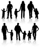 Silhouettes of parents with children, vector illustration poster