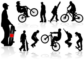 Vector extreme silhouettes man on roller, bicycle, skateboard