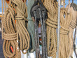 Collection of ropes on an old wooden sail boat