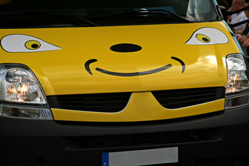smiley yellow van